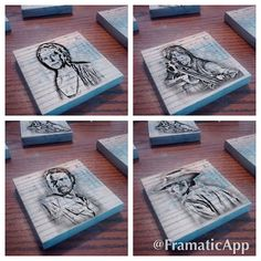 Walking Dead Wooden Coasters with the Characters from your favorite show, The Walking Dead. Daryl, Rick, Carl, Glen and Maggie, Michonne, Hershel, Beth, and Carol. Choose who you want on your set of 6.  Custom orders can be placed with your choice of characters and colors. Please contact us prior to purchase.