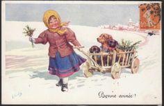 K Feiertag Girl with Dachshund Dogs Being Towed in Cart 1911 Pub B K w 1 | eBay