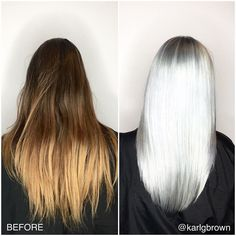 "@karlgbrown wowed us with this one  Find out how he went about it using Olaplex patience and good old fashioned color theory know-how- ""For this client I started by applying Blondor with 25Vol and Olaplex to the mid shaft area where there was old dark color leaving the roots and ends out. After processing for a bit I applied Blondor with 20vol and Olaplex first to the root area and then lastly to the ends.  After processing and using Olaplex step 2 I pre-toned using WELLA KolestonPerfect…"