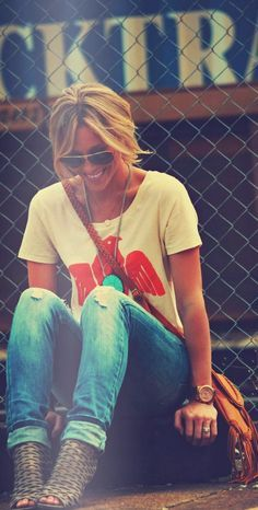 Lovely casual fashion denim and t-shirt