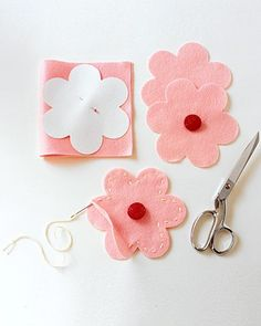 Send the youngest guests home with special favors: change purses filled with penny candy.Print and enlarge template to 250 percent (first photocopy at 200 percent, then at 125). Cut out and pin to colorful felt; cut a top and bottom shape for each purse. Sew buttons to one shape. Stitch both shapes together around edges with embroidery thread; leave an opening by sewing through top layer only for about 2 inches.Print the Flower Purse Template