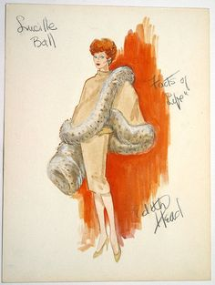 Edith Head's sketch for Lucille Ball forThe Facts of Life (1960).