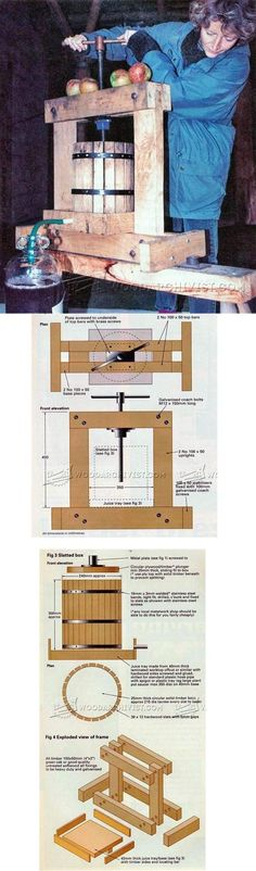 Cider Press Plans - Woodworking Plans and Projects - Woodwork, Woodworking, Woodworking Plans, Woodworking Projects Easy Wood Projects, Woodworking Projects Diy, Teds Woodworking, Project Ideas, Cider Press, Adirondack Chair Plans, Dresser Plans, Dog House Plans, Coffee Table Plans