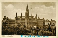 The Town Hall in Vienna is built in the Flemish style. Town Hall, Vintage Postcards, Vienna, Genealogy, Ephemera, Austria, Big Ben, Places Ive Been, Past