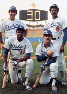 In 1977, the Dodgers are the first team in MLB history to have a quartet of players hit 30 home runs in a season. Steve Garvey (33), Reggie Smith (32), Ron Cey (30) & Dusty Baker (30).