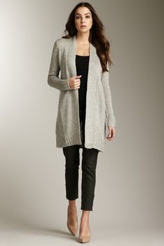 Cullen  Sparkly Open Cardigan. Love the combination of gray black and nude