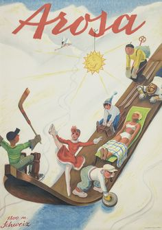 HUGO LAUBI (1888-1959) AROSA lithograph, c.1949 127 x 90 cm. £2,000-3,000 $2,600-3,800 €2,400-3,500 #skiposter