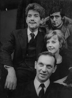 """Ian McKellen, Frank Hauser (director), Eileen Atkins and Ian McShane in rehearsal for """"The Promise"""" by Aleksei Arbusov, Theatre Plays, Broadway Theatre, William Tell, My First Job, Ian Mckellen, Judi Dench, Tennessee Williams, Atkins, Golden Age"""