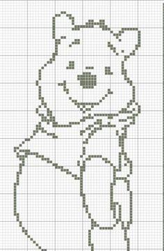 Baby blanket Winnie the Pooh filet crochet pattern Filet Crochet Charts, Crochet Stitches Patterns, Knitting Charts, Cross Stitch Patterns, C2c Crochet, Cross Stitch Baby, Cross Stitch Animals, Cross Stitch Embroidery, Winnie The Pooh