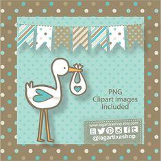 Papel Digital Fondos Imagenes Clip art para Baby Shower Niño by LagartixaShop | Etsy