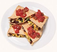 Zucchini and black bean quesadillas - delish and took 10 minutes. Great for Meatless Monday!