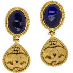 Pre-owned Chanel Blue Gripoix Dangle CC Earrings ($495) ❤ liked on Polyvore featuring jewelry, earrings, blue rhinestone jewelry, oval earrings, rhinestone earrings, rhinestone jewelry and tear drop earrings