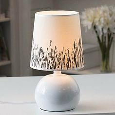 Minimalist Table Lamps Artistic Prints Fabric Shade Painted Pure White Metal Body by Table lamp, http://www.amazon.co.uk/dp/B00F33QS2I/ref=cm_sw_r_pi_dp_JNeotb1GV5P3Z