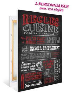 Un tableau dans l'esprit écrit sur une ardoise pour décorer votre cuisine, tout en rappelant de façon graphique les règles qui s'appliquent dans cette pièce(des règles humoristiques ou factuelles)! Plusieurs coloris et tailles possibles. PRIX : à partir de 30€. Plus de détails sur : http://www.graphik-spirit.fr/tableaux/583-affiche-regles-de-la-cuisine-ardoise-rouge-personnalisee.html