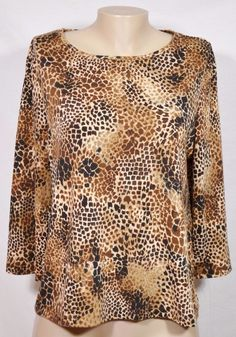 WHITE STAG Brown Beige Black Animal Print Top Large 3/4 Sleeves Unlined #WhiteStag #Top #Casual