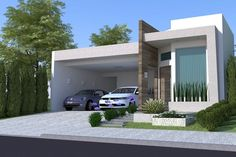 With a modern facade but at the same time cozy this is one of our favorite projects. The plan divides well the intimate sector of the house Minimalist House Design, Minimalist Home, Modern House Design, Facade House, Home Design Plans, House Goals, House Front, Exterior Design, Future House