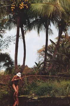 Bamboo fishing.