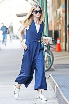 EXCLUSIVE: Olivia Palermo spotted wearing a Royal Blue V Neck Wrap Dress in Soho, NYC.
