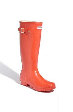 Hunter 'Original Tall' High Gloss Rain Boot in vermillion