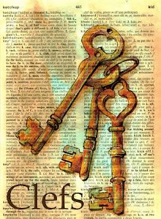 Mixed Media Key (Clefs) Drawing on Distressed French/Engish Dictionary Más Vintage Paper, Vintage Art, Ball Drawing, Newspaper Art, Book Page Art, Dictionary Art, Shoe Art, Art Journal Pages, Medium Art