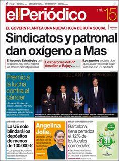 Los Titulares y Portadas de Noticias Destacadas Españolas del 15 de Mayo de 2013 del Diario El Periódico ¿Que le parecio esta Portada de este Diario Español?