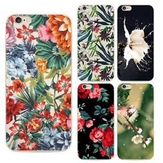 2016 Fashion Silicon Coque Soft Tpu Back Cover For Apple Iphone 6 6s Phone Case Colorful flowers painted Pattern Capa