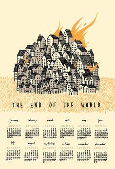 2012 end of the world calendar - screenprint - neversleeping via Etsy.
