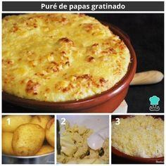 Puré de papas gratinado #RecetasGratis #RecetasFáciles #RecetasRápidas #Patata #Puré #Queso