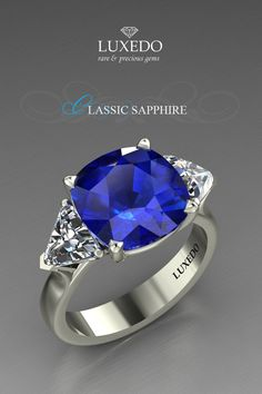 Enchanting blue sapphire sided with trilion cut diamonds. Create your unique jewel at Luxedogems.com