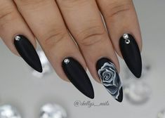 Bright Nail Designs, Cute Acrylic Nail Designs, Black Nail Designs, Goth Nails, Prom Nails, Swag Nails, Black Nails With Glitter, Matte Black Nails, Shiny Nails