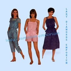 Butterick 5981 Vintage Pull-on Overalls Romper Jumpsuit Sun Dress Jumper Womens size 8 10 12 Bust 31.5 32.5 34 Sewing Pattern Uncut FF by ladydiamond46 on Etsy