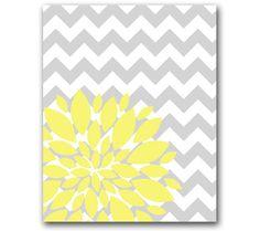 "Yellow Flower Burst Botanical Printable Art -8"" x 10"" // Grey Chevrons and Yellow // Digital Fine Art Modern Wall Art Prints Home Decor 69"