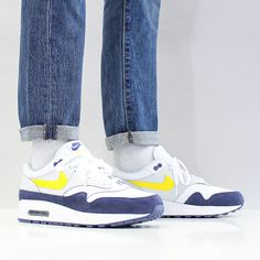 The Nike Air Max 1 - White-Tour Yellow-Blue Recall at Urban Industry, UK. Air Max 1s, Nike Air Max, Air Max Sneakers, Sneakers Nike, Stocking Tops, Latest Sneakers, Sneaker Release, Nike Acg, Clothing Items