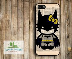 iPhone 5 case iPhone 5 Cover iPhone 5 Sleeve Art Hard Plastic case iPhone Case - Hello Kitty Batman on Vintage Upcycled Dictionary Page. $14.99, via Etsy.