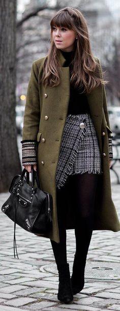 Green Coat / Black Knit / Tweed Skirt / Black OTK Boots / Black Leather Tote Bag