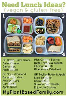 Vegan and gluten-free lunch box ideas packed in kids lunch for school Vegan Lunch Box, Vegan Lunches, Lunch Snacks, Vegan Foods, Lunch Recipes, Whole Food Recipes, Healthy Snacks, Vegetarian Recipes, Healthy Recipes