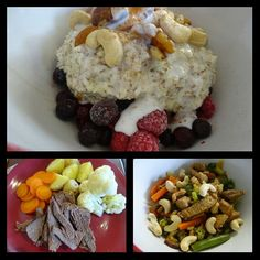 Mondays munches!  Breakfast = coconut porridge with raspberries blueberries mixed nuts a little coconut cream and cinnamon  Lunch = leftover stir fry & cashews  Dinner = slow cooked beef boiled potatoes carrots and cauliflower #10weekchallengenz #10weekchallenge