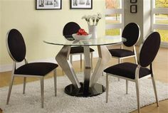 Explore the contemporary modern style round glass dining table collection.Checkout the Alexis modern round glass satin dining table and chairs Glass Kitchen Tables, Glass Top Dining Table, Dining Decor, Dining Table Chairs, Table Bases, Side Chairs, Round Dining Table Modern, Elegant Dining Room, Beautiful Dining Rooms