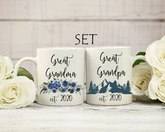 Great grandma and great grandpa est. 2020 set of mugs. Great grandmother and great granfather to be coffee mug set. Grandma And Grandpa, Grandma Gifts, Book Lovers Gifts, Gifts In A Mug, Literary Gifts, Handmade Design, Mugs Set, Mug Designs, Funny Gifts