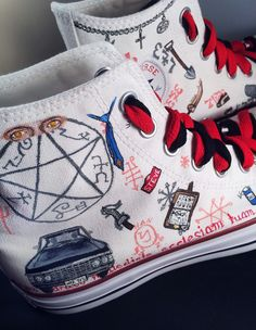 c303a5263224 Supernatural Shoes -- LIMITED EDITION custom Chuck Taylor Converse sneakers.  Handpainted   customizable
