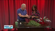 Flower Expert J Schwanke upcycles a container using übermatte® Ink by Design Master to make a classic Christmas Centerpiece in this segment of Great Day TB with Stephanie Webb. http://on.wtsp.com/2ikWGwR  #christmas #diy #upcycle #ubermatte #uBloom