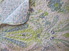 PAISLEY MEDALLION Reversible 3pc KING Quilt SET Aqua Blue Lime Green FLORAL NEW #FinelyStitched