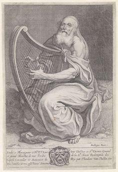 Theodoor van Thulden | David bespeelt de harp, Theodoor van Thulden, Louis Petit, 1633 | David bespeelt de harp. Midden onder in de marge het wapenschild van Louis Petit en een opdracht aan hem in het Frans.