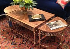 #HPMKT @Renee Herzog Muller Furniture Hard to pick a favorite but the Charleston Regency collection is embodied beautifully in this piece by Stanley Furniture. With braided trellis in champagne silver leaf and a clear walnut top this piece is the perfect refined accent table. I love pieces with flexibility and style. Keep together as an oval cocktail table, or pull aside as a demilune shaped accent. Multi-use furniture is trending again this market.