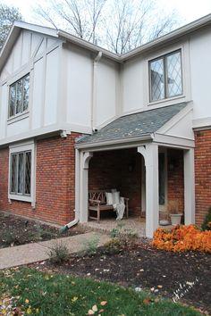Tudor house paint colors - Lowes Valspar Everyday White and Realistic Beige in Satin Tudor Exterior Paint, Tudor House Exterior, Exterior Paint Colors For House, Paint Colors For Home, Exterior Colors, Exterior Design, Paint Colours, Maison Tudor, House Paint Color Combination