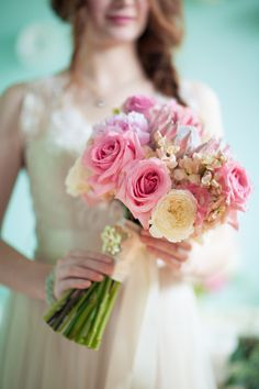 pink bouquet // photo by Studio Finch, flowers by Ipomea Floral // View more: http://ruffledblog.com/crochet-and-aqua-inspiration/