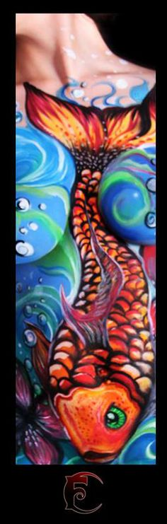 Body painting by iamginaw on pinterest tropical flowers for Exotic koi fish