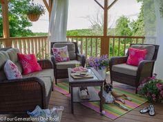 Our Colorful Summer Covered Porch | Four Generations One RoofFour Generations One Roof