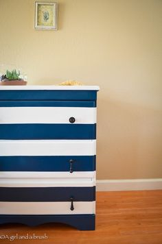 60 DIY Furniture Makeovers | The 36th AVENUE - There's a black and brown dresser with rope for knobs - LOVE IT
