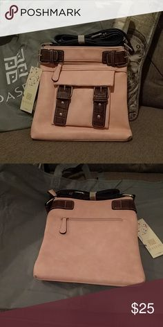 👜 Two-Toned Soft Crossbody Bag 👜 Such a cute purse! It's made from soft faux leather and is very lightweight. This bag is pink trimmed in brown.  Make a very stylish addition to your collection!  Comes with dust cover and original packaging Dasein Bags Crossbody Bags